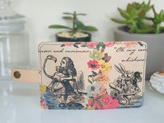 Decoupage Real Leather Card Case - Alice in Wonderland, Credit Cards Holder, wallet, Card Pouch, Sewn leather Card Holder Decoupage Art, Leather Card Case, Vintage Birds, Pretty And Cute, Napkins Set, Credit Cards, Card Wallet, Real Leather, Alice In Wonderland