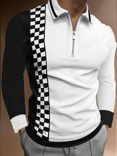 Printed Polo Shirts, Slim Fit Polo, Fashion Prints, Types Of Sleeves, Long Sleeve Shirts, Men Casual, Work Casual, Shirt Style, Arm
