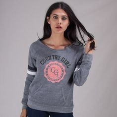 The Country Girl Sport Fleece Sweatshirt features bold arm stripes & pocket accents. The sweatshirt is made with oz. Athletic Girls, Fashion Line, Sport Girl, Tgirls, Country Girls, Hoodies, Sweatshirts, Athlete, Girl Outfits