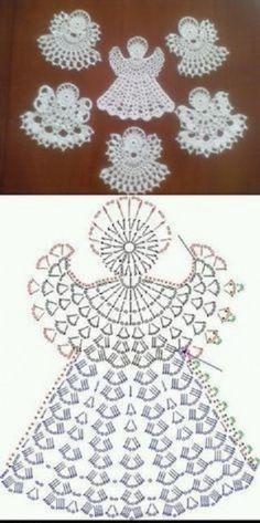 Crochet Angel Pattern, Crochet Socks Pattern, Crochet Square Patterns, Beading Patterns Free, Crochet Diagram, Crochet Crafts, Easy Crochet, Knit Crochet, Crochet Christmas Ornaments