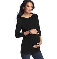 Maternity Patch Pocket Tunic Sweater - Styled with button cuffs, ribbed details and sweet patch pockets, this sleek tunic charms every which way. Ballet neck. Long sleeves. Button cuffs. Ribbed trim at yoke, cuffs, pockets and hem.