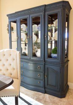 Annie Sloan napoleonic blue with dark wax china cabinet. Blue China Cabinet, Antique China Cabinets, Painted China Cabinets, Painting Kitchen Cabinets, Refinished China Cabinet, Dark Cabinets, Repurposed China Cabinet, Bathroom Cabinets, Bathroom Vanities