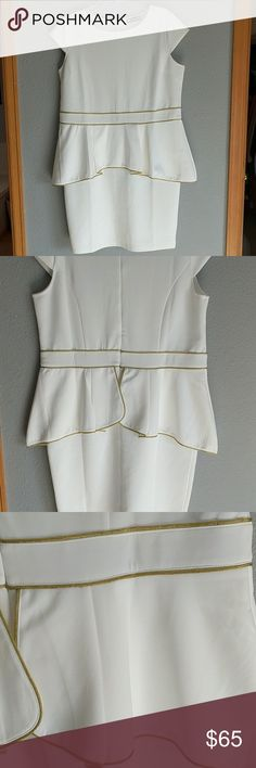 NWOT White peplum dress Gorgeous white peplum dress with gold detail. Short sleeves, lower thigh/above the knee length. Hugs all your curves wonderfully and very flattering! Size 1cm? but the fabric is very forgiving and could fit up to a 2x. {True plus size} Zips up the back. Last picture is stock image of the actual dress. Dresses Midi