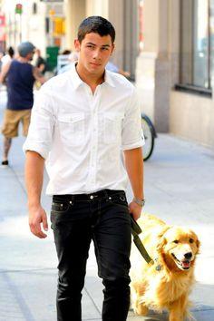 Nick Jonas + Cute dog = perfect