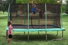 Exterior: Cool Rectangle Enclosed Trampoline from Round Or Rectangle Trampoline, What To Choose? Enclosed Trampoline, Large Trampoline, Rectangle Trampoline, Trampoline Reviews, Outdoor Trampoline, Trampoline Workout, Gymnastics Equipment For Home