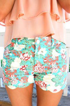 Fantasy Garden Shorts - Mint