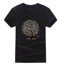 Novo 2016 verão respirável de best sellers dos homens de manga curta T número da camisa árvore impresso estilo da marca t-shirt de algodão magro O pescoço Tops(China (Mainland))