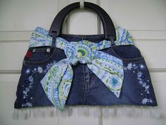 Ladies Recycled Jean Purse. $25.00, via Etsy.