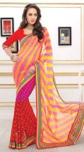 Fantastic red and yellow poly georgette half and half saree which is crafted with a butta work ont he lower part which is decorated with resham work, leheriya printed work on the pallu part and contrast patch on the border. This sari comes with matching blouse piece.The blouse of this saree can be stitched in the maximum bust size of 40 inches...