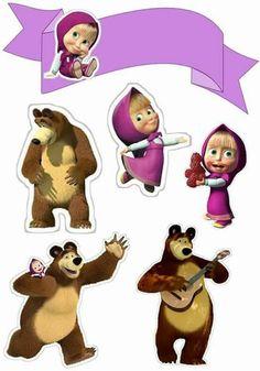 Masha and the Bear: Free Printable Cake Toppers. - Oh My Fiesta! in english ideas creativas Bear Birthday, 2nd Birthday, Masha Et Mishka, Party Printables, Free Printables, Marsha And The Bear, Bear Theme, Baby Shawer, Bear Party