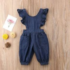 Celmia Cute Girl's Back Cross Denim Romper For Years is cheap, come to NewChic and buy the best toddler dresses now! Dresses Kids Girl, Little Girl Outfits, Little Girl Fashion, Toddler Fashion, Kids Fashion, Latest Fashion, Fall Fashion, Baby Outfits Newborn, Toddler Outfits