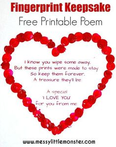 Fingerprint Heart Keepsake Poem | Fingerprint Heart, Free Printable  Valentines And Heart Crafts
