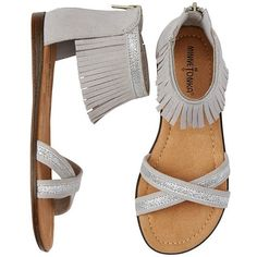 Fringe Sandals by Minnetonka ($30) ❤ liked on Polyvore featuring shoes, sandals, minnetonka, adjustable shoes, minnetonka shoes, minnetonka sandals and ankle cuff sandals