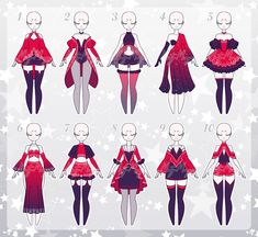 Fashion Illustration Sketches, Fashion Sketches, Anime Outfits, Cute Outfits, Dark Costumes, Drawing Anime Clothes, Anime Dress, Dress Sketches, Fashion Design Drawings
