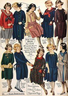 20世纪初的女孩服饰设计插图