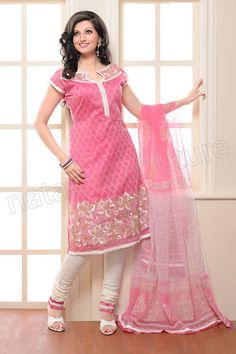 Natasha Couture Pink and White Cotton Embroidered Salwar kameez - StyleHoster | StyleHoster