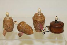 3 Victorian carved vegetable ivory tape measures; treenware tape measure.
