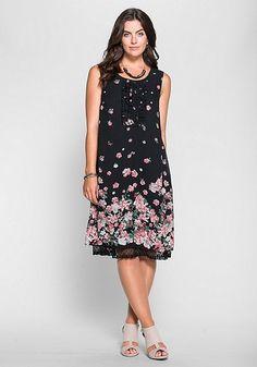 sheego Style Jerseykleid mit Blütendruck - schwarz-rosé | sheego XXL-Mode