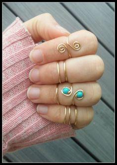MIDI, anillo, alambre, minimalista, gitano, boho, hipster, hippie, playa, perlas, turquesa, apilable, apilada, capas, oro, pila, ajustable