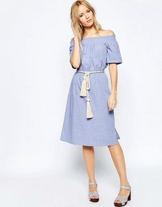 ASOS COLLECTION ASOS Off Shoulder Sundress with Rope Tie