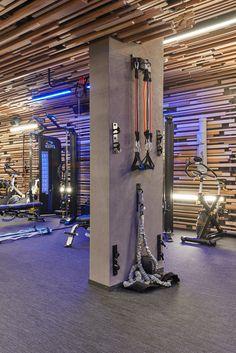 Soultrain Gym architecture and interior design by URAStudio Home Gym Garage, Diy Home Gym, Gym Room At Home, Home Gym Decor, Basement Remodel Diy, Basement Gym, Home Gym Design, Home Building Design, Workout Room Home
