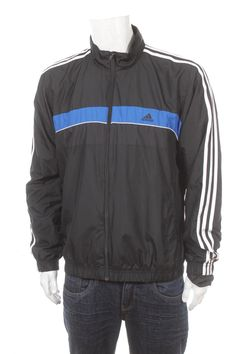 eb96fe0ab000 Vintage 90s Adidas Tracksuit top Windbreaker jacket color block black Blue white  Size L