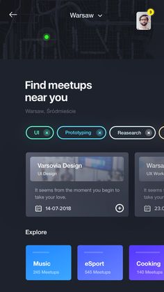 ---Events Idea--- meeetup interactions by Wojciech Zieliński - Dribbble Ios App Design, Web Design, Mobile Ui Design, Graphic Design, Dashboard Design, Flat Design, Gui Interface, Interface Design, Design Thinking