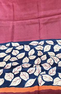 Pink Handpainted Bhagalpur Tussar Silk  Kurti fabric