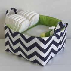 Diaper Caddy Navy White Chevron Green Citron Accent Organizer Bin Basket ... with Dividers