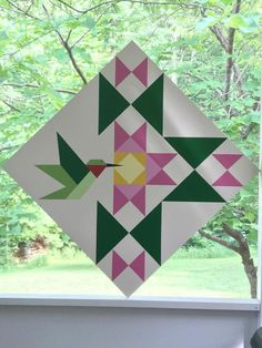 48 Ideas geometric art diy paper crafts for 2019 Barn Quilt Designs, Barn Quilt Patterns, Quilting Designs, Star Quilts, Mini Quilts, Bird Quilt Blocks, Vogel Quilt, Painted Barn Quilts, Barn Signs