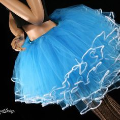 Ice Queen tutu skirt Turquoise ribbon trimmed huge poofy adult costume | SistersOftheMoon - Clothing on ArtFire