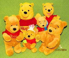 6 Winnie the POOH Teddy Bears DISNEY Store Plush Stuffed Fisher Price Dan Dee #DisneyFisherPriceDanDee