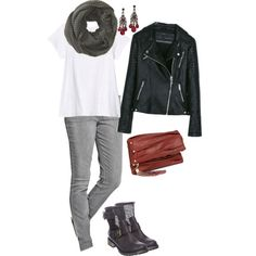 """Fall Uniform Basics - moto jacket and biker boots with skinnies"" by wrymommy on Polyvore"