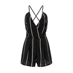 Rotita V Neck Open Back Stripe Print Black Romper (335 ARS) ❤ liked on Polyvore featuring jumpsuits, rompers, jumpsuits/playsuits, dresses, black, long-sleeve romper, playsuit romper, long-sleeve rompers, sleeveless rompers and patterned romper