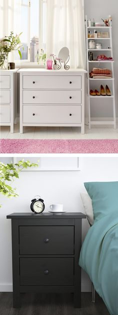 The IKEA HEMNES bedroom series has roomy chests of drawers in a choice of colors so that you have everything you need to create a bedroom you love.