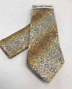 Stacy Adams Tie & Hanky Set Gold Yellow Gray Royal Blue Microfiber Men's #StacyAdams #Set
