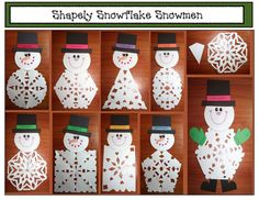 Snipping Snowflakes Snowman activities: FREE printables for Snippy, the Shapely Snowflake Snowman. The hatband has the traceable shape word on it. Christmas Crafts For Kids, Christmas Art, Holiday Crafts, Craft Activities, Preschool Crafts, Kids Crafts, Shape Activities, Winter Activities, Toddler Crafts