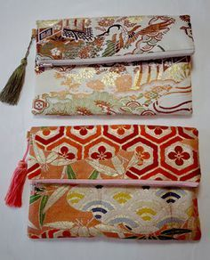 clutch bag made of kimono sash Japanese Textiles, Japanese Patterns, Japanese Fabric, Kimono Fabric, Fabric Bags, Diy Clutch, Clutch Bag, Japan Bag, Kirara