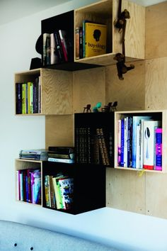 ply shelving Downstairs guest house ideas