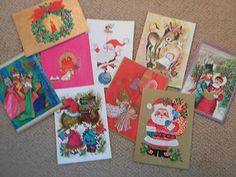 Vintage Christmas Cards 39 Unused w Box Envelopes 60s Modern Gold Accents | eBay