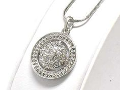 Crystal Stud Round Metal Filigree White Gold Plated Pendant Necklace