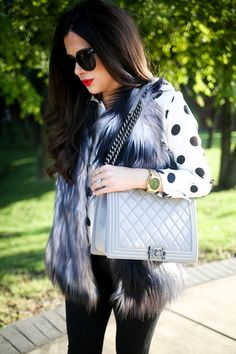 for fall - faux fur vest and dotted tunic