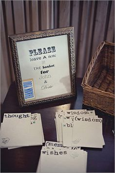 """Guestbook """"So many traditions have gone by the side boards, so to speak, but having a guestbook makes a great memory and engages guests,'' says Rafanelli. For her Stowe, Vt., wedding six years ago, Erika Ayers Nardini created a guestbook using brightly colored envelopes glued into a scrapbook. Guests selected blank cards from the envelopes to write notes to the couple. """"On the way to the airport for our honeymoon, we jotted down our own favorite memories on the cards that weren't used,'' ..."""