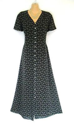VINTAGE LAURA ASHLEY ENGLISH COUNTRY DAISY GARLAND 40S STYLE SPRING DRESS 12