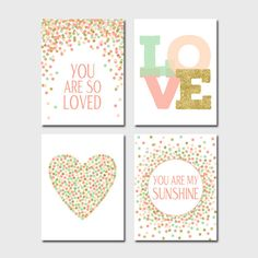 Set of Prints Nursery You Are So Loved Print You Are My Sunshine Digital Gold Coral Mint Baby Girl Nursery Decor Pink Prints Set Nursery Art by EllenPrintable on Etsy https://www.etsy.com/ca/listing/247612343/set-of-prints-nursery-you-are-so-loved