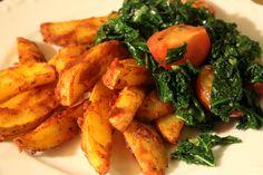 Am Mittwoch war dann der Grünkohl an der Reihe, den Johanna mit Tomaten und Kartoffelecken servierte.