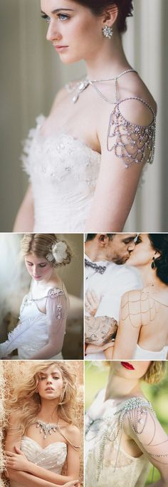 Fantastic shoulder necklaces for your wedding. Let's talk about some bling girl Comment/gemjunkiejewels Via:praise wedding.com