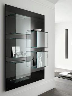 Wall-mounted #glass bookcase DAZIBAO by @Tonelli Design