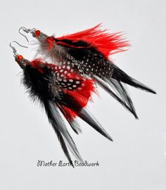 Black and Red Feather Earrings by MotherEarthBeadwork on Etsy, $20.00