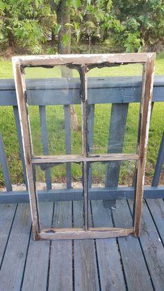 Vintage Wood Window, Window Frame, Farmhouse, Cottage Decor, Old Wood Window, Old Window, 4 pane, Barn Window, Primitive Decor, Sign 167 by ANTFOUNDANTIQUES on Etsy